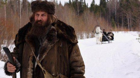 Film still of Gerard Depardieu as Grigory Rasputin