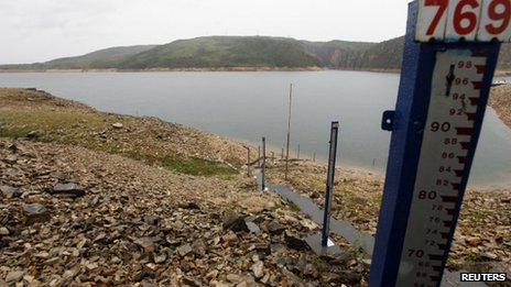 Water markers at the Furnas lake at the Furnas hydroelectric dam,