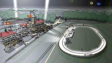 Artist's impression of Towcester greyhound track