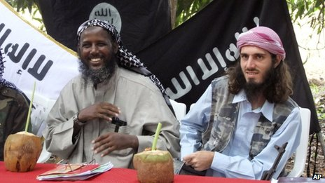 Militant Islamists Mukhtar Abu Mansur  and Omar Hammami (R) in Mogadishu, Somalia,  on 11 May 2011