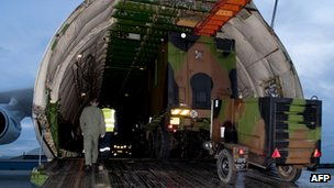 Military plane at Istres, southern France, carrying troops and military equipment to Mali. 22 Jan 2013