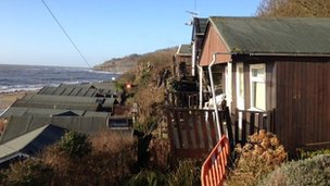 BBC picture of chalets at Monmouth beach