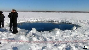 Meteor crater at lake outside Chebarkul, in Russia's Chelyabinsk region, 15 February
