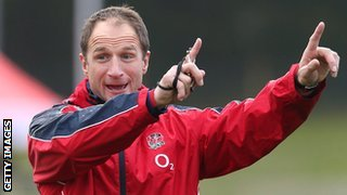 Mike Catt gestures during an England training session
