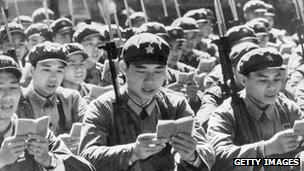 Red Army soldiers read from Chairman Mao's Little Red Book (c 1970)