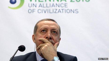 Ο Πρωθυπουργός της Τουρκίας Ταγίπ Ερντογάν στο Φόρουμ  Συμμαχία των Πολιτισμών του ΟΗΕ στη Βιέννη στις 27/2/13