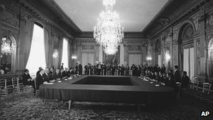 The US delegation, left, and North Vietnamese delegation at Paris peace talks