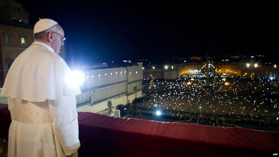 Argentina's Jorge Mario Bergoglio at the window of the balcony at St Peter's Basilica after being elected Pope