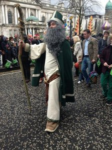 St Patrick himself took part in the festivities in Belfast