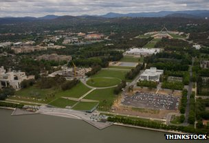 Canberra seen from above