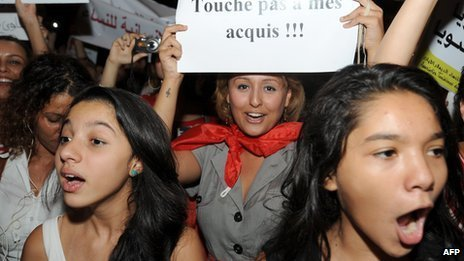 Tunisian women protesting