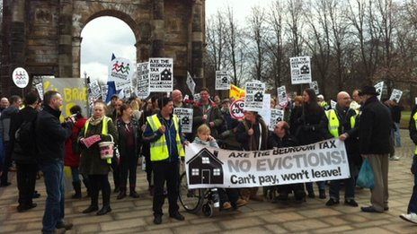Anti-bedroom tax demonstrators