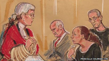 Court drawing of Mrs Justice Thirlwall sentencing Mick and Mairead Philpott