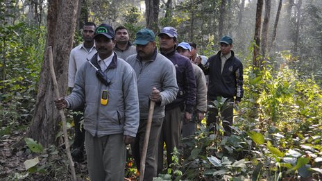 Anti-poaching team in the Chitwan national park