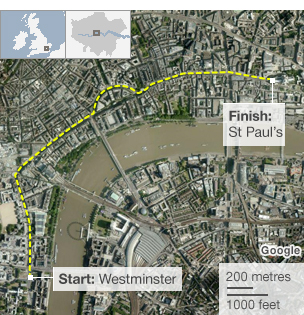 Funeral route for Margaret Thatcher