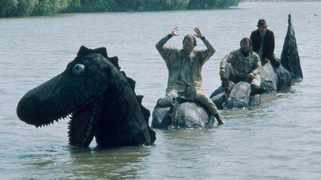 The Goodies riding Nessie