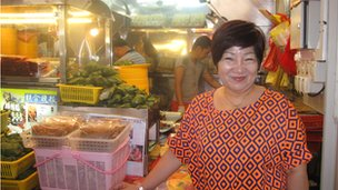 Seow Lai Hao outside her satay stall