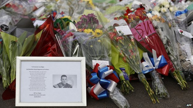 Floral tributes to Drummer Lee Rigby