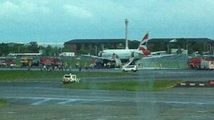 Fire tenders in attendance at the side of the stricken airways: Picture BBC News