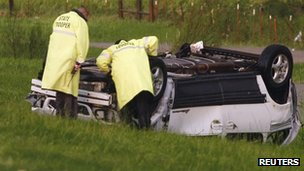 Car damaged on Interstate 40, 31 May