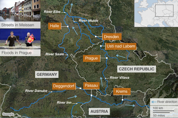 Map showing the rivers causing flooding in central Europe