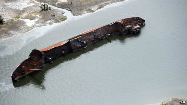 Ship destroyed for carrying stolen oil
