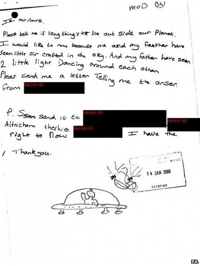 Undated handout photo issued by The National Archives of a letter and drawing of UFO sighting from a schoolchild in Altrincham, Greater Manchester, January 2009