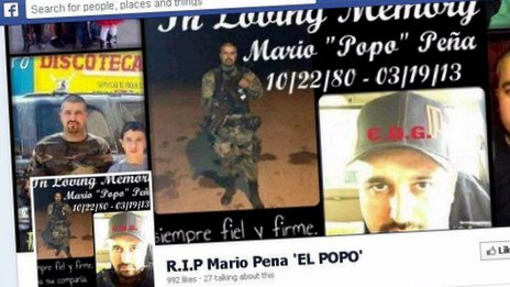"""Screengrab from Facebook of a tribute page to the gangster Mario """"Popo"""" Pena"""