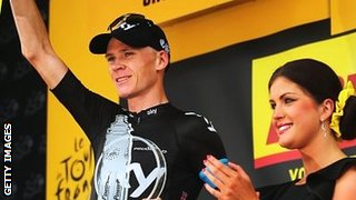 Chris Froome on the podium