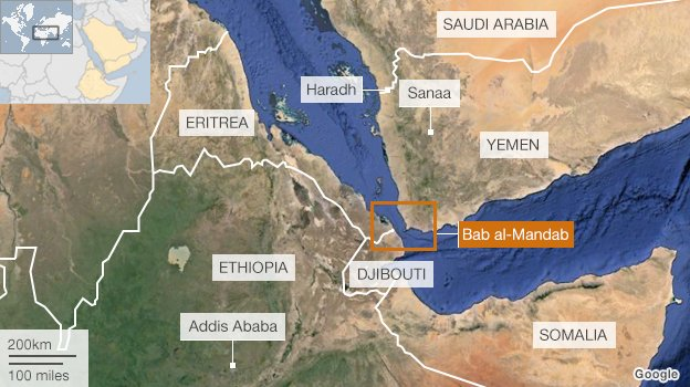 A map showing the Horn of Africa, Yemen and Saudi Arabia