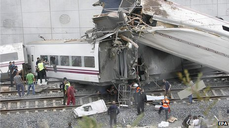 The train accident close to Santiago de Compostela, Galicia, on 24 July