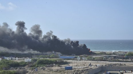 "An Ethiopian Air Force aircraft crashed upon landing this morning at Mogadishu""s Aden Abdule International Airport in this picture provided by AU UN IST Photo in Mogadishu, Somalia, 9 August, 2013."