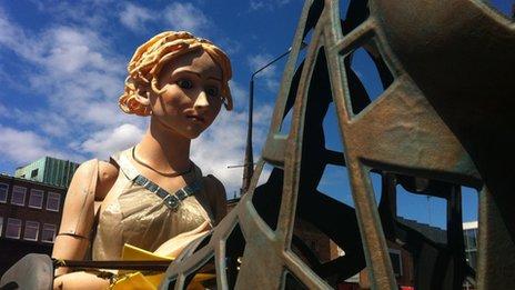 A close-up of Lady Godiva
