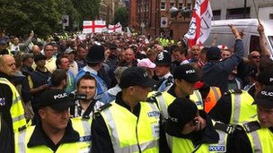 Police presence at the EDL march