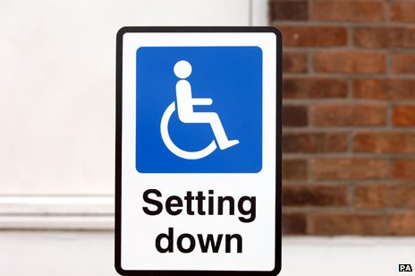 "Wheelchair icon in sign reading ""Setting Down"""
