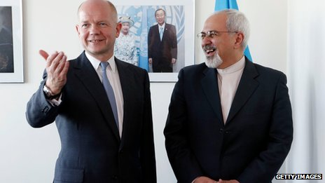 William Hague with Mohammed  Javad Zarif at the UN on 23 September 2013