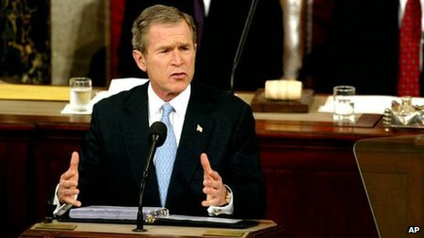 President Bush gives his State of the Union address on Capitol Hill (29 Jan. 2002)