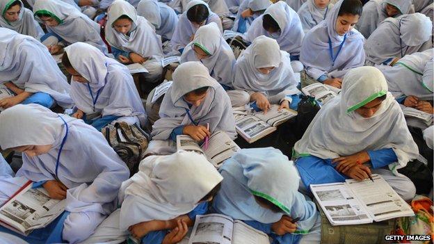 Girls attending class at a school in Mingora, Pakistan