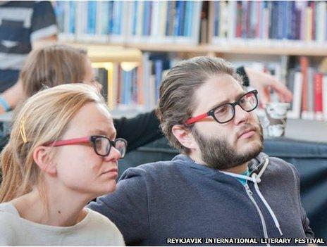 Two visitors to the Reykjavik International Literary Festival