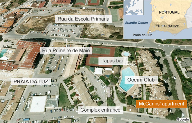 Map showing key locations in Praia da Luz