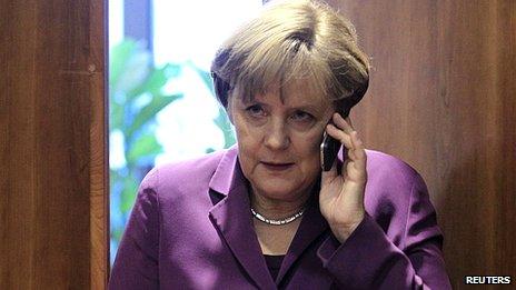 Angela Merkel uses mobile phone. (File image)