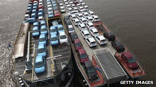 Cars being transported in Germany