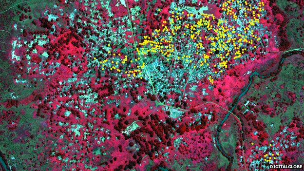 Photo from Amnesty International: In the Bouca area, approximately 485 structures - represented here by yellow dots - appear burned (November 2013)