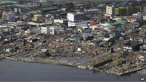 An aerial shot shows the devastation in Tacloban, 10 Nov