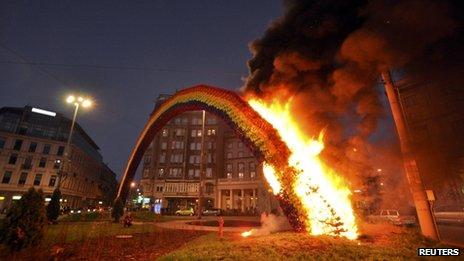 A rainbow art installation burns in Warsaw. Photo: 11 November 2013