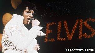 Elvis Presley during his Hawaiian satellite concert in January 1973