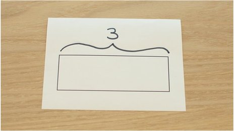 A drawn box labelled with a 3.
