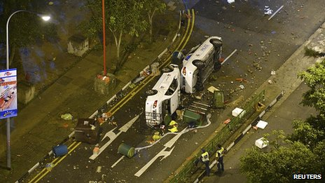 Police cars overturned in Singapore. 8 Dec 2013