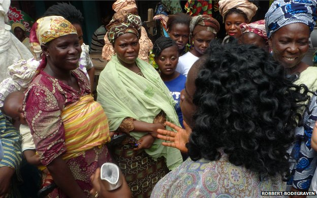A market demonstration of a female condom