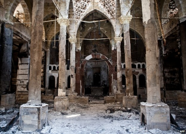 The charred interior of the Amir Tadros Coptic church in Minya, 18 August